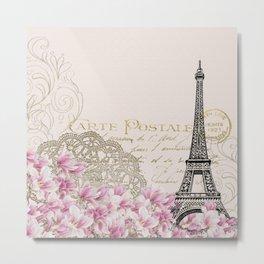 Carte Postale Eiffel x Floral Art Deco Metal Print