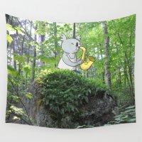 saxophone Wall Tapestries featuring Saxophone Koala In The Woods by koalahigh