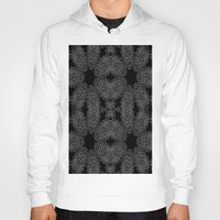 gray pattern Hoodies featuring Black Slate Gray Crystal Pattern by 2sweet4words Designs