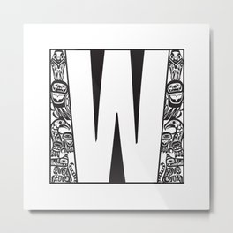 Northwest Pacific Coast American Native Totem White Letter W Metal Print