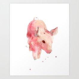 pig, piglet, piggy wiggy went to market, this little piggy, pink, nursery decor Art Print