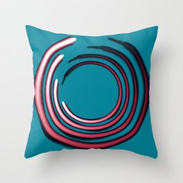 Rough red circles over blue Throw Pillow