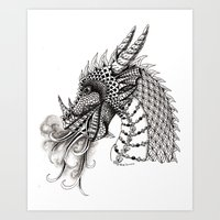 dragon Art Prints featuring Dragon by Elisa Camera