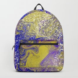 Rainbow Colors Liquid Marble Pattern With Glitter Backpack