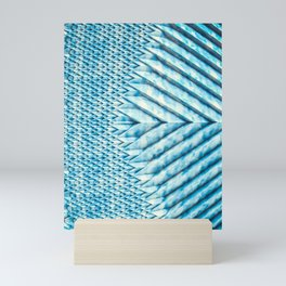Blue Marble Sun Shards. 3D Chevron Design Mini Art Print