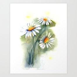 Watercolor daisies Art Print