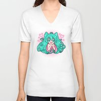 vocaloid V-neck T-shirts featuring Vocaloid: Love Miku by Alice In Underwear