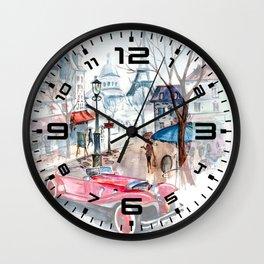 Red retro car Wall Clock