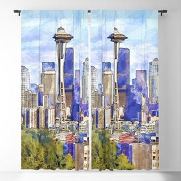 Seattle View in watercolor Blackout Curtain