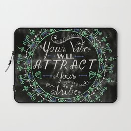 'Your Vibe Will Attract Your Tribe' Quote Mandala Marble Black Laptop Sleeve