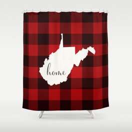 West Virginia is Home - Buffalo Check Plaid Shower Curtain