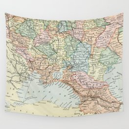 Vintage Map of Russia Wall Tapestry