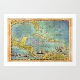 Caribbean Pirate + Treasure Map 1660 (Colored) Art Print