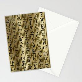 Black hieroglyphs pattern on Ancient Gold Stationery Cards