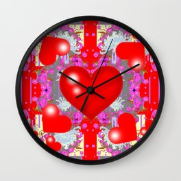 Grey Red Hearts Valentines & Pink Flowers Patterns Wall Clock