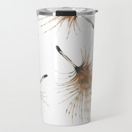 Delicate Brown Feather Seamless Pattern Travel Mug