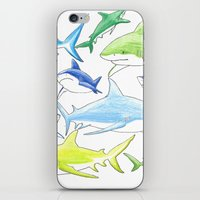 sharks iPhone & iPod Skins featuring sharks by Kathryn Rickards