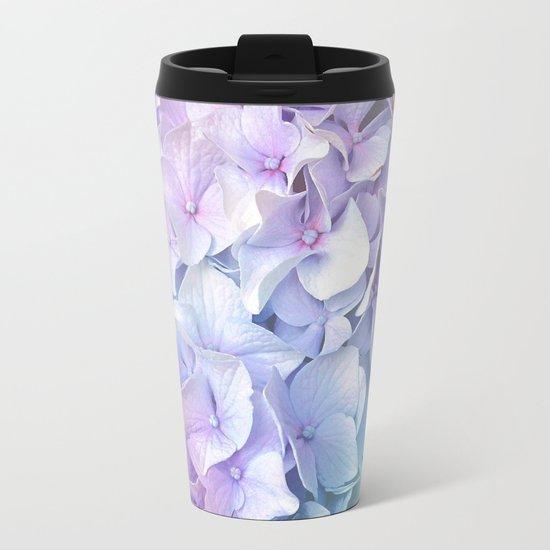 Soft Pastel Hydrangea Metal Travel Mug