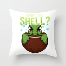 Cute & Funny What The Shell? Turtle Pun Animal Throw Pillow