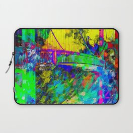 Golden Gate bridge, San Francisco, USA with colorful painting abstract background Laptop Sleeve