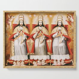 The Enthroned Trinity as Three Identical Figures, 1720 Serving Tray