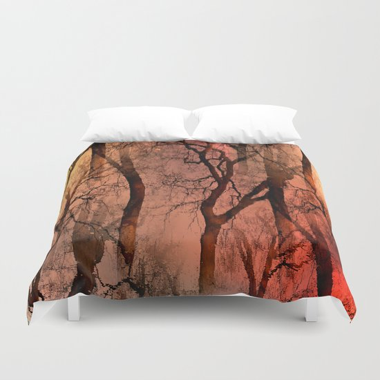 Glamour Trees (orange) Duvet Cover