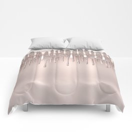 Icy Pink Rose Gold Diamond Dust Glitter Drips Comforters
