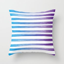 Drawn Lines Blue to Purple Ombre Throw Pillow