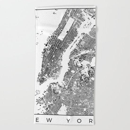 New York Map Schwarzplan Only Buildings Beach Towel