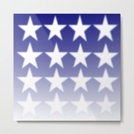 Blue and White Stars, Blue Faded Background With White Stars Metal Print