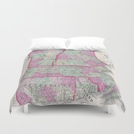 Vintage Map of New England States (1864) Duvet Cover