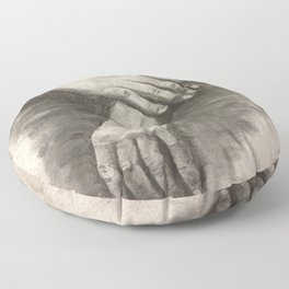Charcoal Hands - human anatomy Floor Pillow
