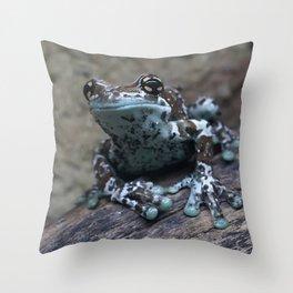 Blue tree frog Throw Pillow
