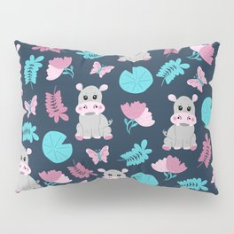 Cute Pink Teal Hippo Floral Butterfly Lily Pad Pillow Sham