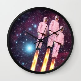 Pink Rockets Wall Clock