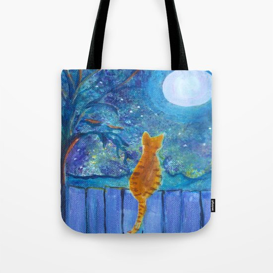 Cat on a fence in the moonlight Tote Bag