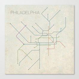Minimal Philadephia Subway Map Canvas Print