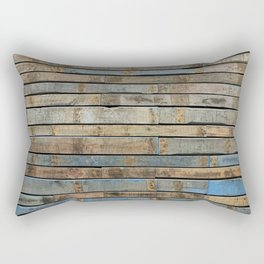 distressed wood wall - Blue and brown planks Rectangular Pillow
