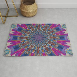 Foil Effect Geometric Kaleidoscope In Pink and Blue Rug