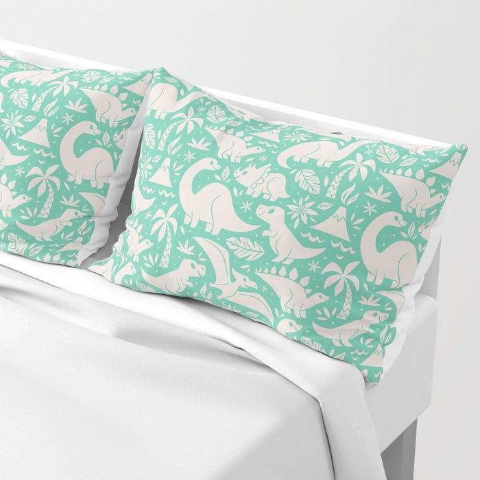 Delightful Dinos (teal) Pillow Sham