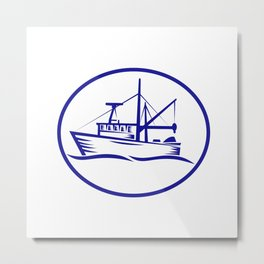 Commercial Fishing Boat Oval Woodcut Metal Print