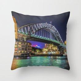 Sydney Harbor Bridge at Night Throw Pillow