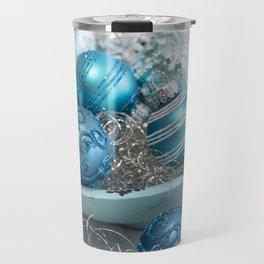 Blue  turquoise christmas baubles and bowl Travel Mug
