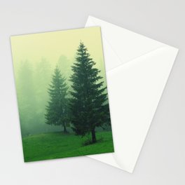 Beautiful green forest with tall trees in a foggy weather Stationery Cards