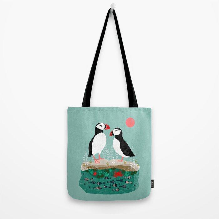 Puffins - Bird Art, Shorebird, Sea bird, birds, Cute illustration by Andrea Lauren Tote Bag