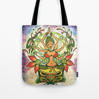goddess Tote Bags featuring Goddess by Divya Suvarna