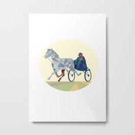 Horse and Jockey Harness Racing Low Polygon Metal Print
