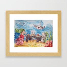 Mermaid Tea Party Framed Art Print
