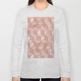 PINK CHAMPAGNE GRADIENT CUBE PATTERN (Gold Lined) Long Sleeve T-shirt