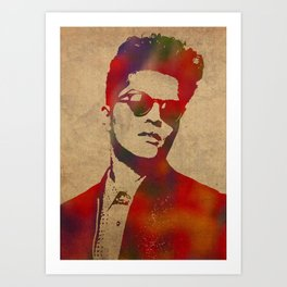 BrunoMars Watercolor Art Art Print